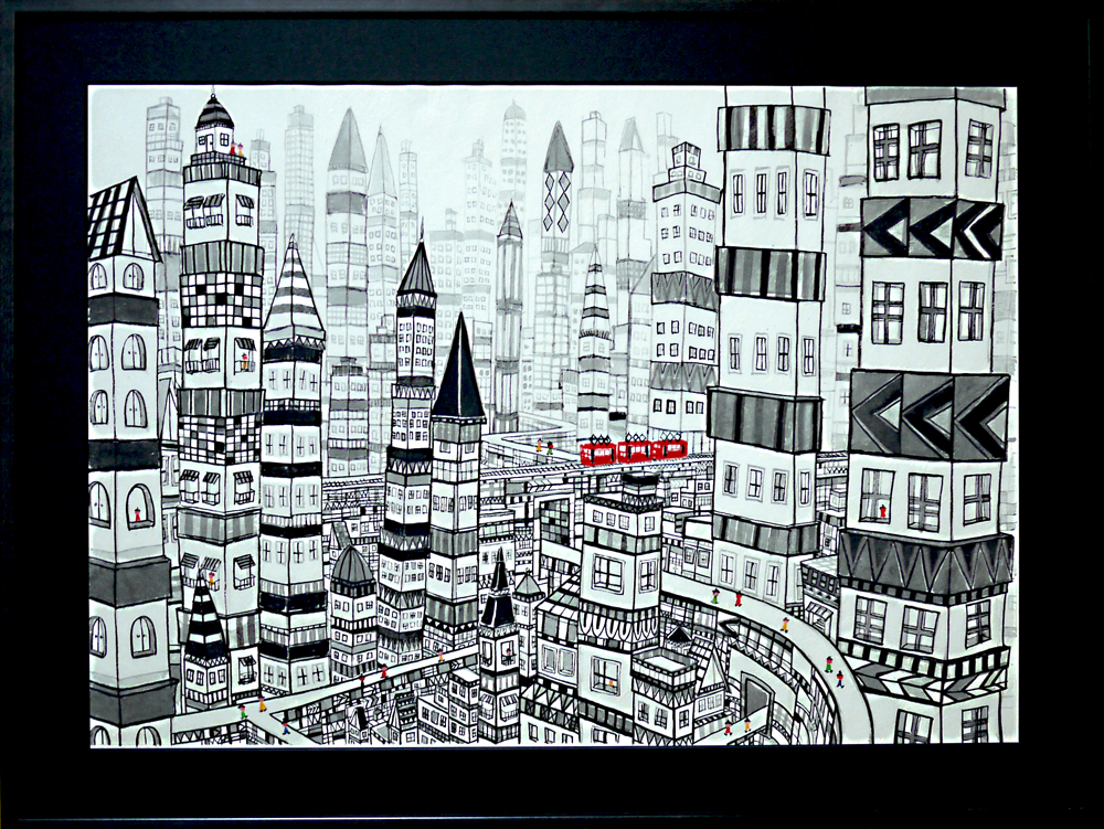 SOLD!!CITY watercolour on japanese paper 54x72cm GALLERY TAGBOAT/TOKYO JAPAN