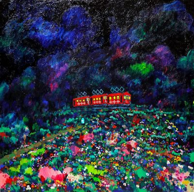 New!! Night promenade 72x72cm oil on canvas 2016 sale soon Gallery Tagboat/Tokyo Japan