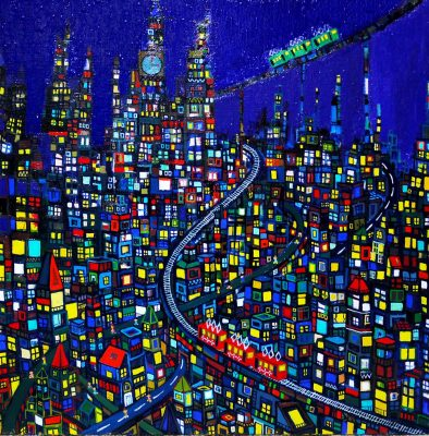 New!! city 53x53cm oil on canvas 2016 sale soon Gallery Tagboat/Tokyo Japan