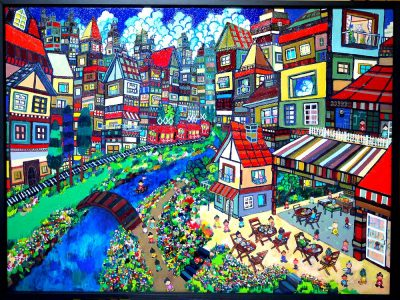 now on sale!! sunday's town 100x130cm oil on canvas 2016 Gallery Tagboat/Tokyo