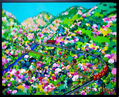 SOLD!!  spring Promenade   oil on canvas 82x100cm  2015 GALLERY TAGBOAT/TOKYO