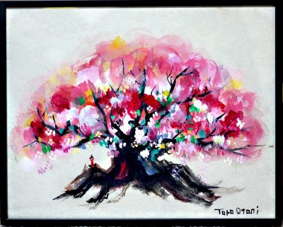 SOLD!! cherry blossoms   watercolour on japanese paper 20x25cm  2014 GALLERY TAGBOAT/TOKYO