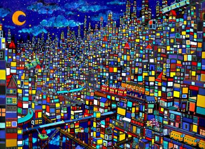 ON SALE!! night town  100x130cm oil on canvas  2017   GALLERY TAGBOAT
