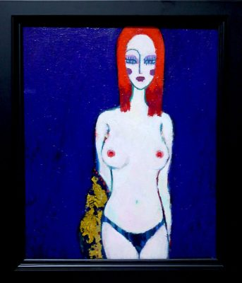 NOW ON SALE!! Nude of Autumn A  45x38cm oil x goldleaf on canvasboard  2017 SALE/GALLERY TAGBOAT TOKYO