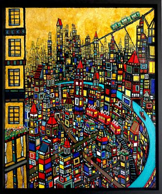ON SALE!! Gold town 72x60cm oil on canvas 2017 #GALLERY TAGBOAT  TOKYO