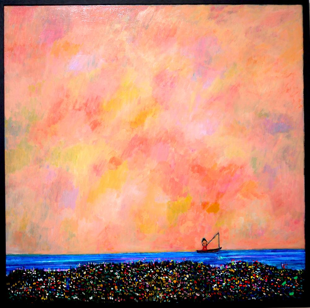 NOW ON SALE | DREAM FISHING | 100 x 100 cm |  2018 | KYURYUDO | TOKYO | JAPAN #contemporaryart