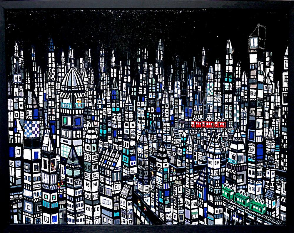 ON SALE | CITY | Black | 41 x 53 cm | oil x canvas  | 2019 |  TAGBOAT | JAPAN #contemporaryArt