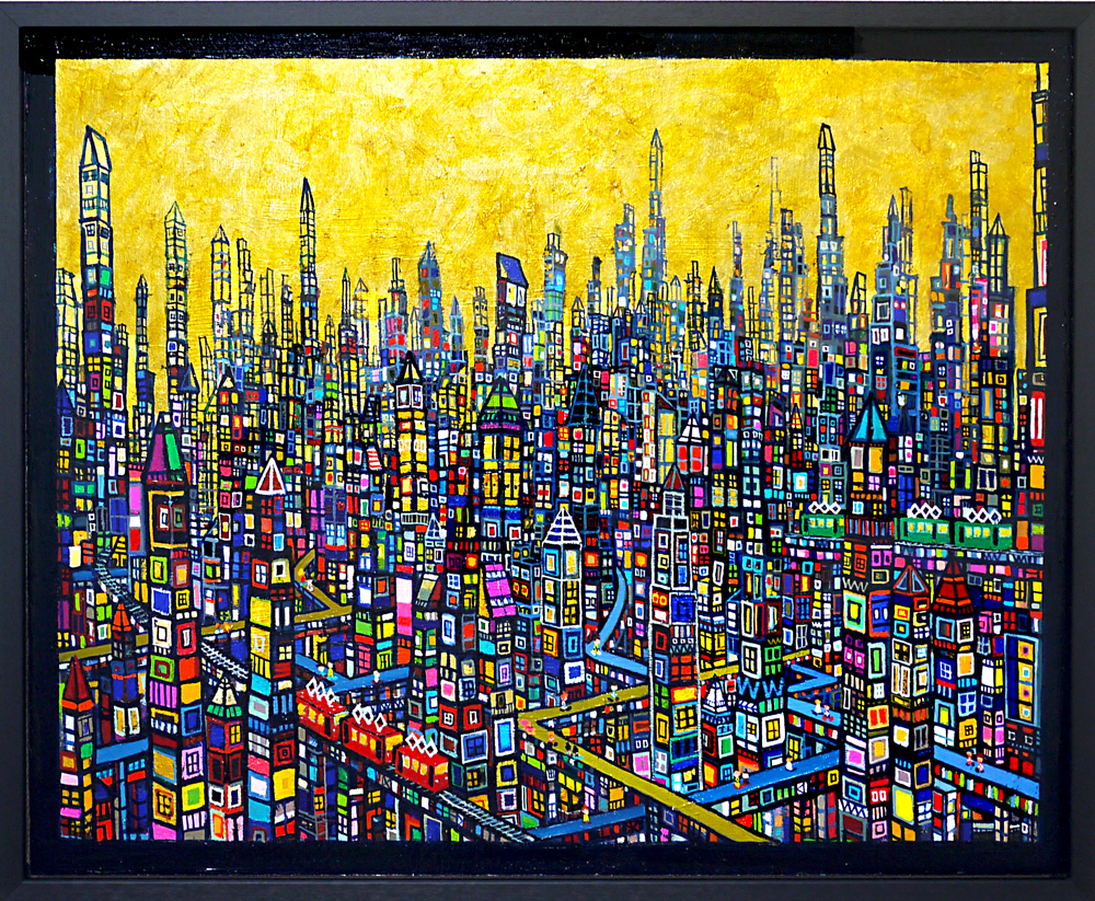 SOLD | Gold town | 53 x 65 cm | oil x wood panel  | 2019 |  TAGBOAT | JAPAN #contemporaryArt