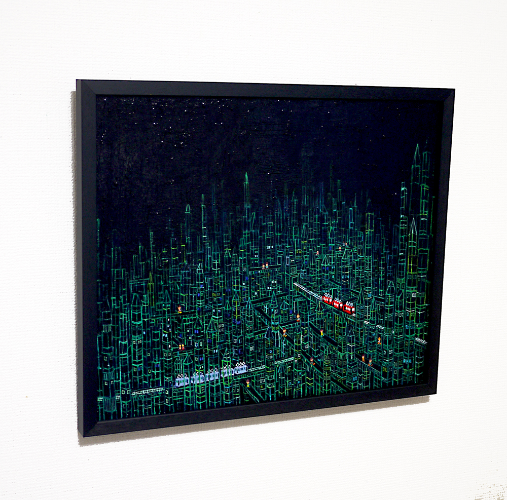 NOW ON SALE | Prism Town | Black | oil x canvas board | 38 x 45 cm | 2019 | GALLERY TAGBOAT | JAPAN #contemporaryArt