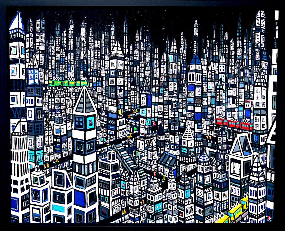 NOW ON SALE | City | Black | 53 x 65 cm | Kyuryudo | Japan #contemporaryart