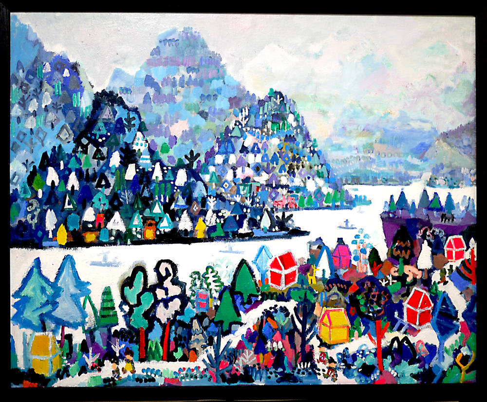 Coming soon | Winter Village | oil x canvas | 80 x 100 cm | 2019 | GALLERY TAGBOAT | JAPAN #contemporaryArt