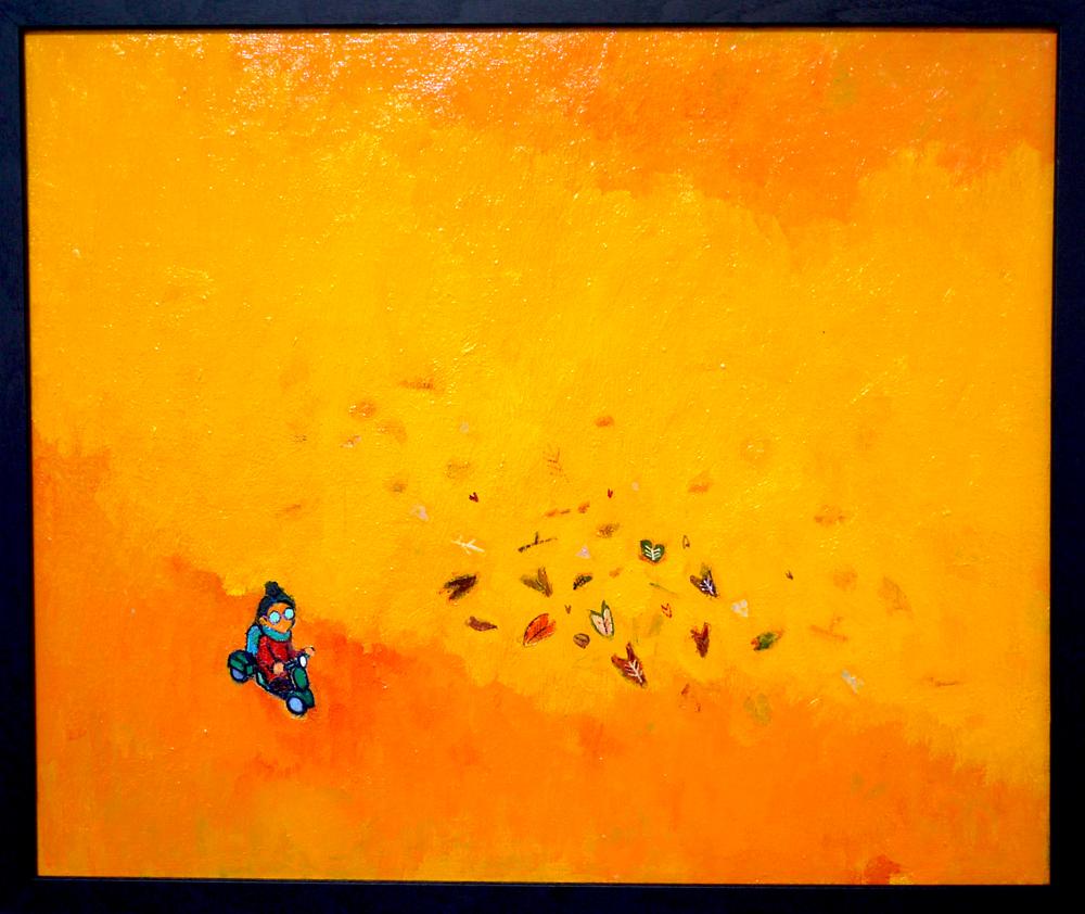 SOLD | Autumn river | 38 x 45 cm | oil x canvas board  | 2018 |  TAGBOAT | JAPAN #contemporaryArt