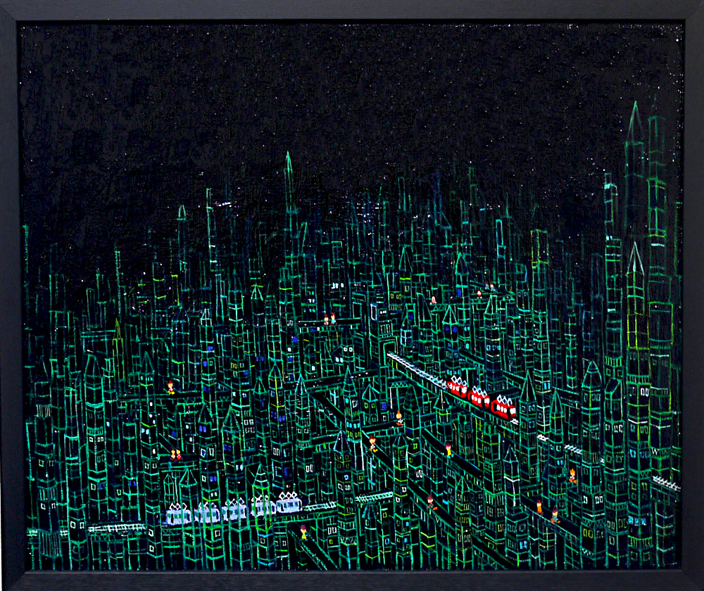SOLD | Prism town | black | 38 x 45 cm | oil x canvas board  | 2019 |  TAGBOAT | JAPAN #contemporaryArt