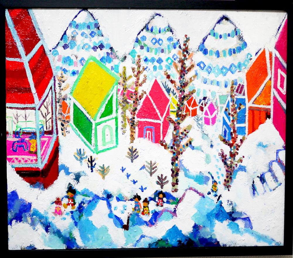 SOLD | Snowy morning | 45 x 53 cm | oil x canvas board  | 2019 |  TAGBOAT | JAPAN #contemporaryArt