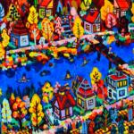 autumn city | 38x45cm | oil x wood panel | 2021